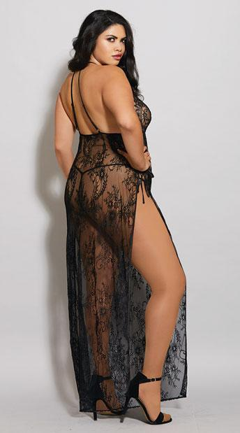 Dreamgirl Nightdress Toga Style Lace Gown Black Plus Size
