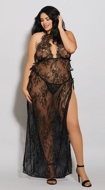 Dreamgirl Nightdress UK 16 / Black Toga Style Lace Gown Black Plus Size