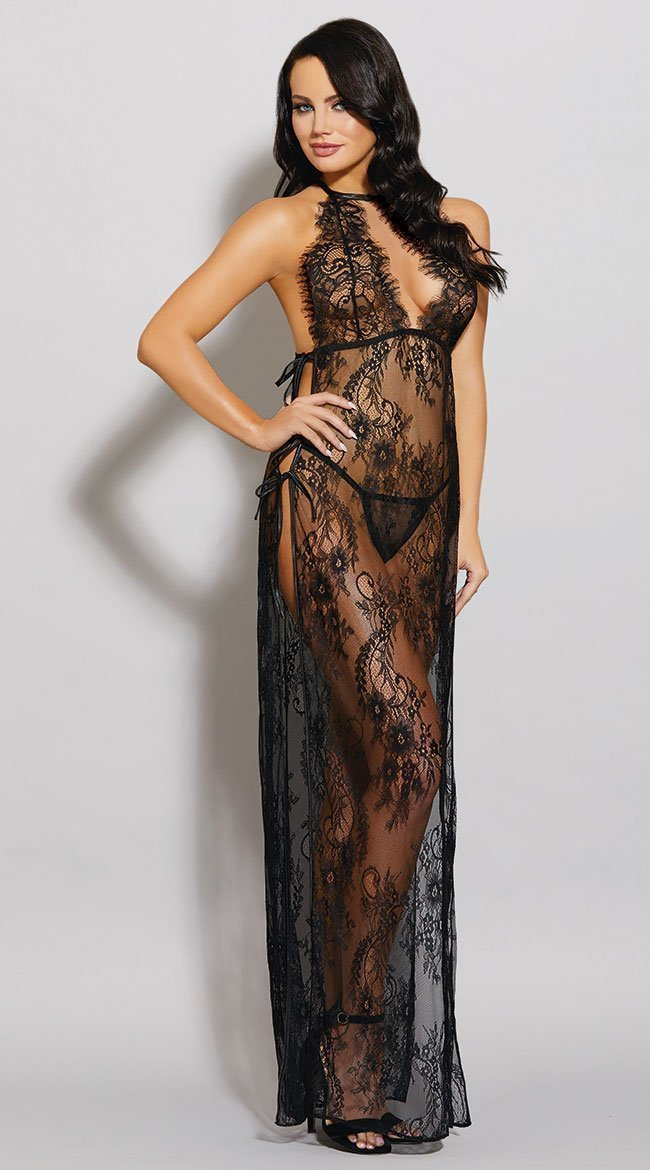 Dreamgirl Nightdress UK 6-8 / Black Toga Style Lace Gown Black