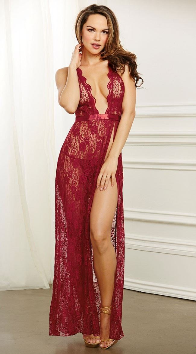 Dreamgirl Garnet Lace Night Gown and G-string Set - Divas Closet