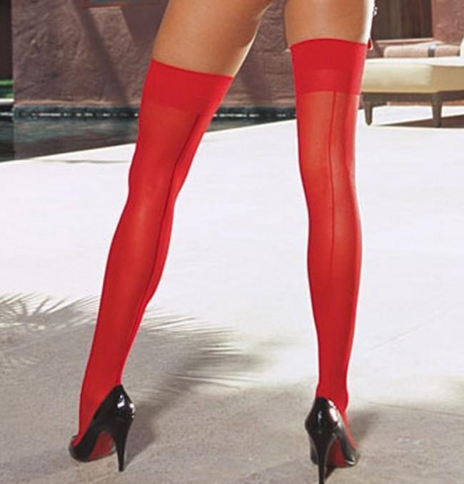 Dreamgirl Stockings One Size / Red Dreamgirl Moulin Seamed Stockings Red