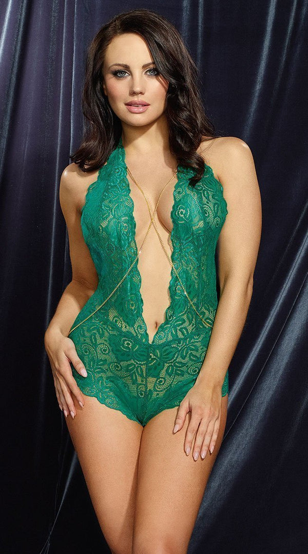 Dreamgirl teddy Dreamgirl Emerald Lace Plunge-Front Teddy with  Decorative Gold Chain