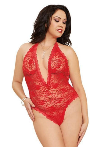 Dreamgirl teddy One Size UK 6-16 / Red Plus Size Lace Teddy with Heart Cut Out Red