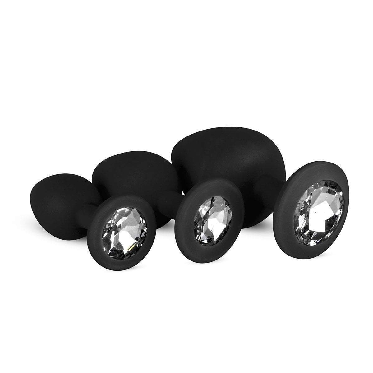 Easytoys Anal Collection Butt Plug Set of 3 Silicone Buttplugs with Diamond - Black