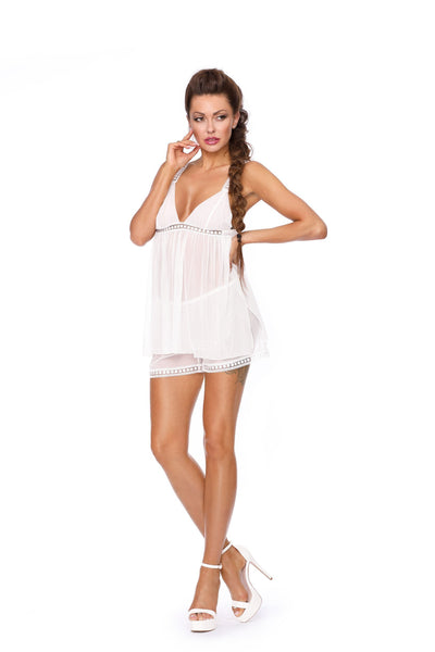 Excellent Beauty Babydoll Set UK 8-10 / White White Babydoll Set
