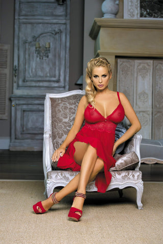 Excellent Beauty Chemise UK 8-10 / Red Long Red Chemise