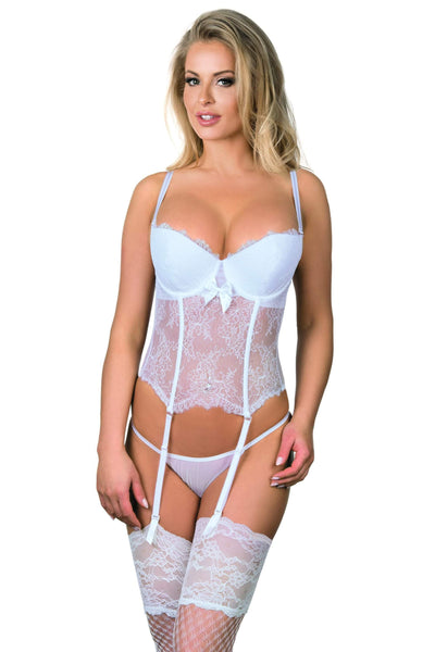 Excellent Beauty Corset UK 8-10 / White White Corset & Thong Set