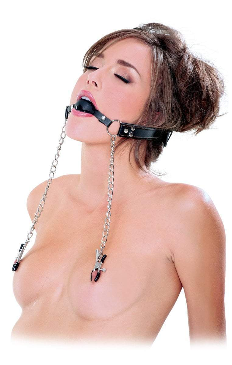 Fetish Fantasy Extreme Gag Deluxe Ball Gag and Nipple Clamps