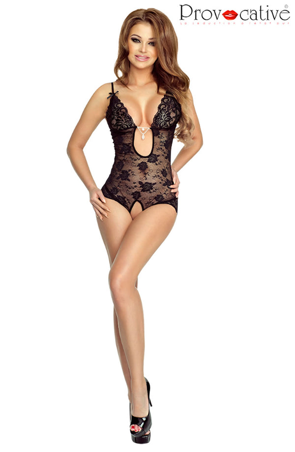 Floral Black Lace Crotchless Bodysuit - Provocative Princesse Du Soire