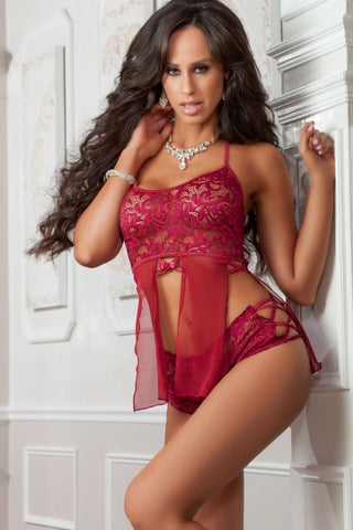 g world Babydoll Set UK 6-14 / Raspberry Raspberry Lace Babydoll & Boyshort Set