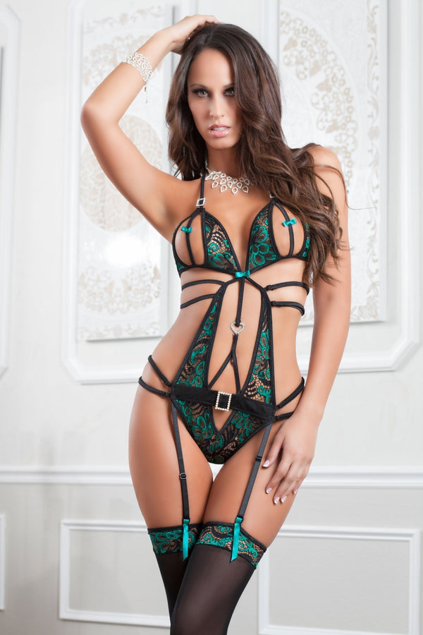 g world Teddy One Size UK 8-14 / Emerald Astonishing Teddy & Stockings Set