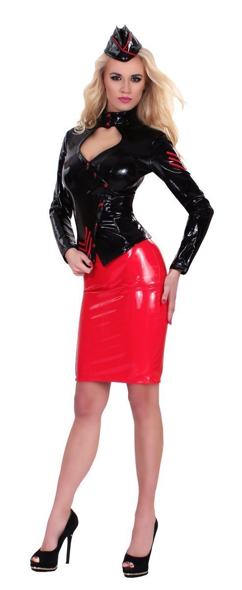 Guilty Pleasure Latex Clothing Black Datex Sergeant Jacket And Cap
