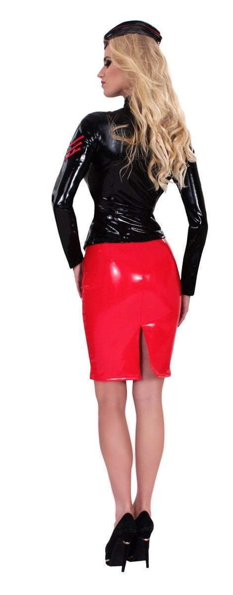 Guilty Pleasure Latex Clothing Red Datex Pencil Skirt
