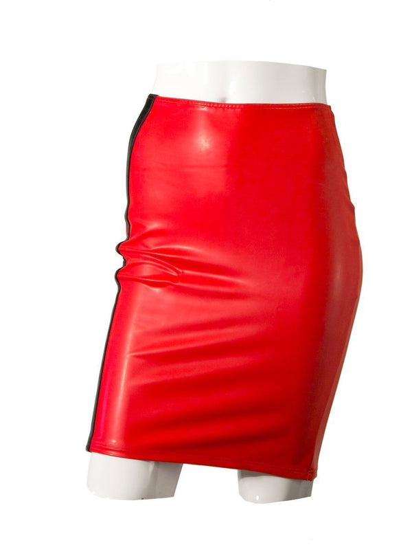 Guilty Pleasure Latex Clothing Small Red Datex Pencil Skirt