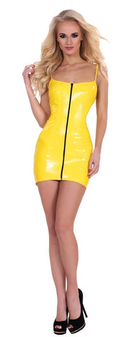Guilty Pleasure Latex Clothing XL / Yellow Datex Zip Up Front Dress