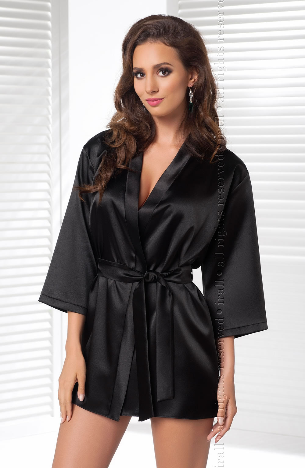 Irall Aria Black Satin Dressing Gown