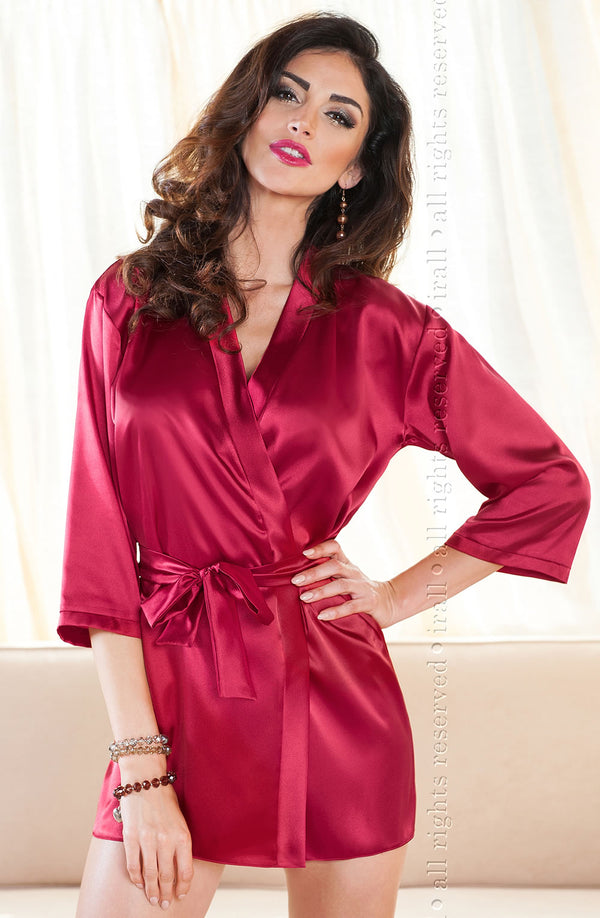 Irall Aria Burgundy Satin Dressing Gown