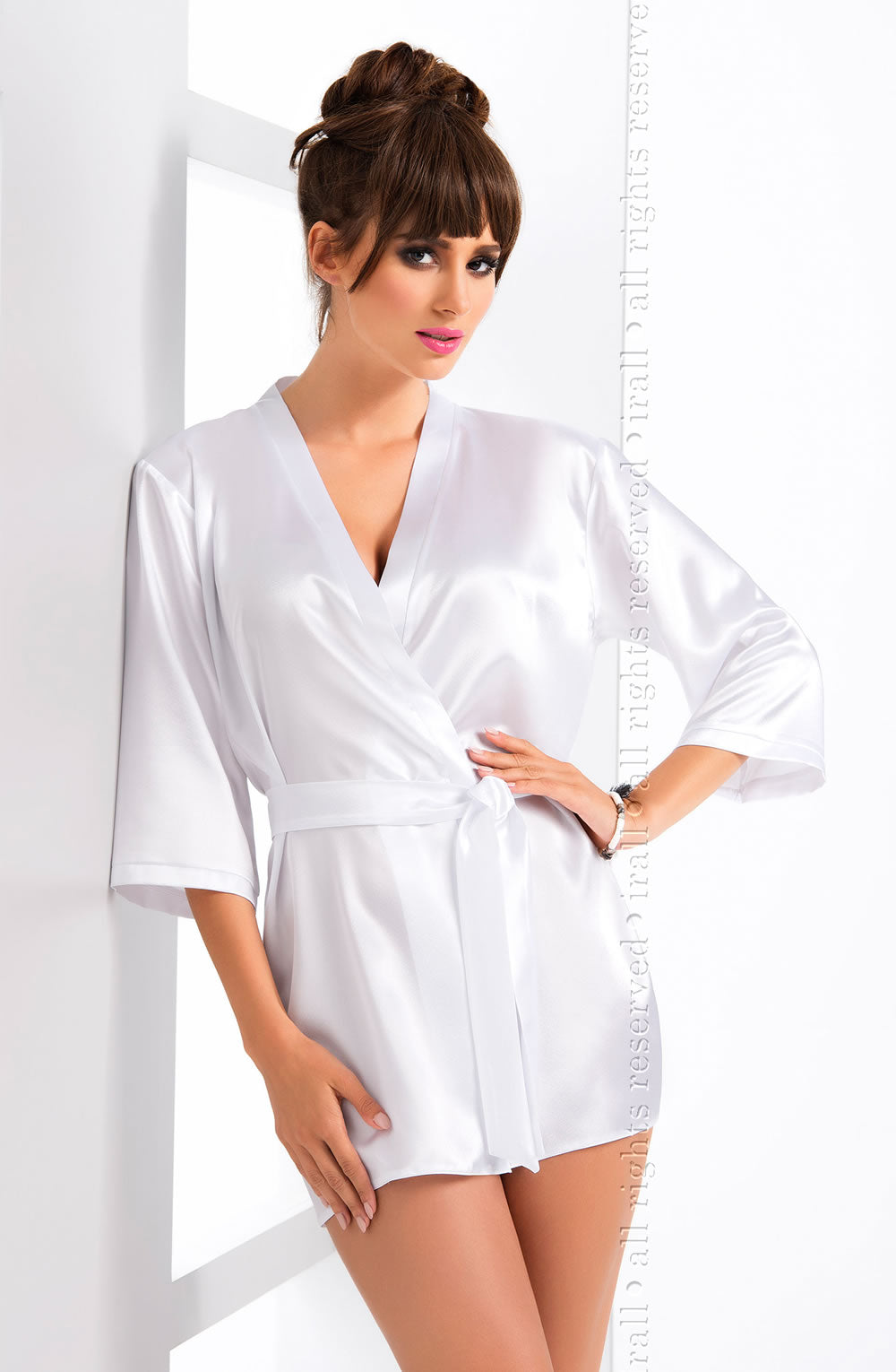 Irall Aria White Satin Dressing Gown