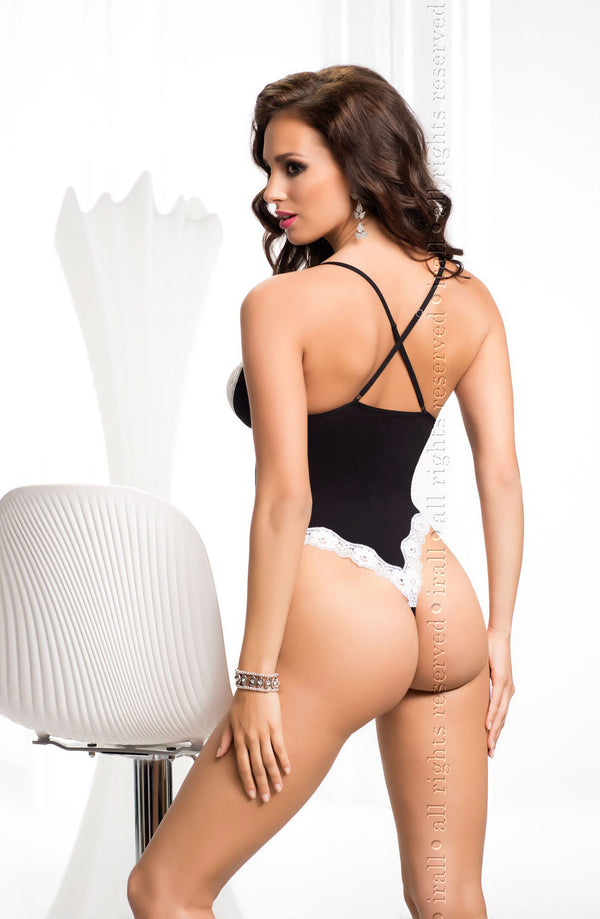 Irall Erotic Black And White Crotchless Bodysuit Back
