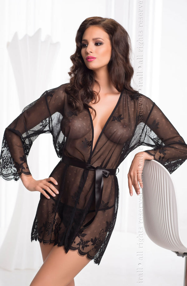 Irall Erotic Black Diamond Sheer Black Dressing Gown