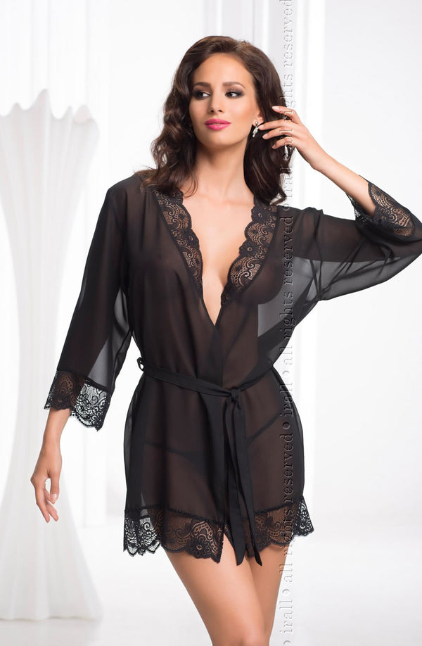 Irall Erotic Cassidy Black Chiffon And Lace Dressing Gown