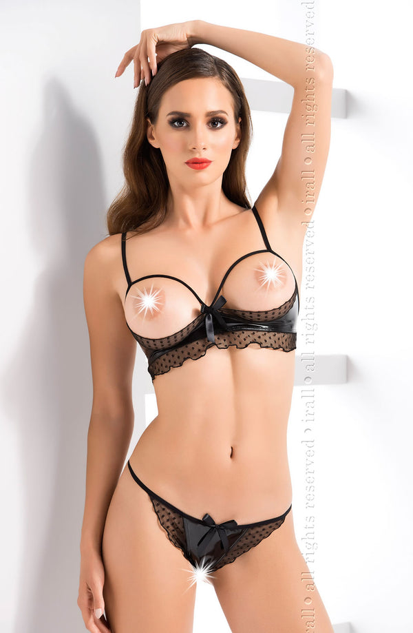 Irall Erotic Joy Black Open Cup Crotchless Lingerie Set