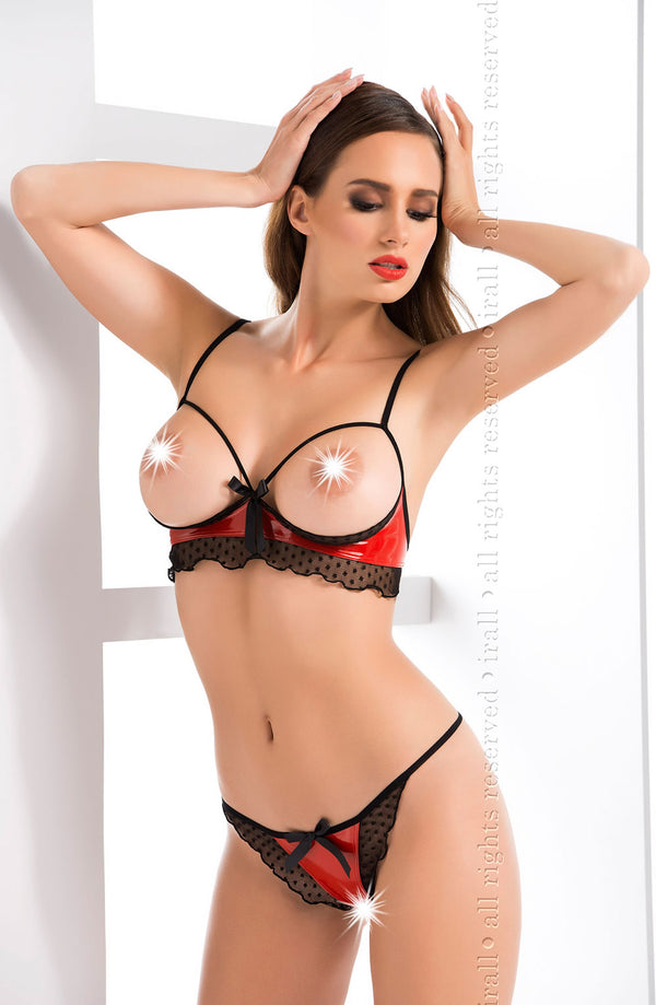 Irall Erotic Joy Hot Red Open Cup Crotchless Lingerie set