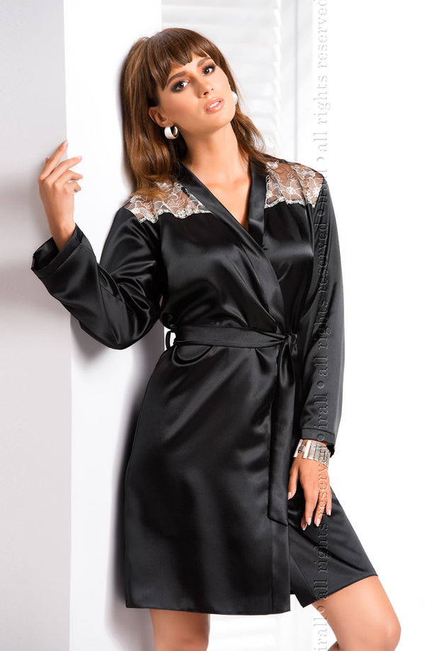 Irall Ida Black Satin Dressing Gown