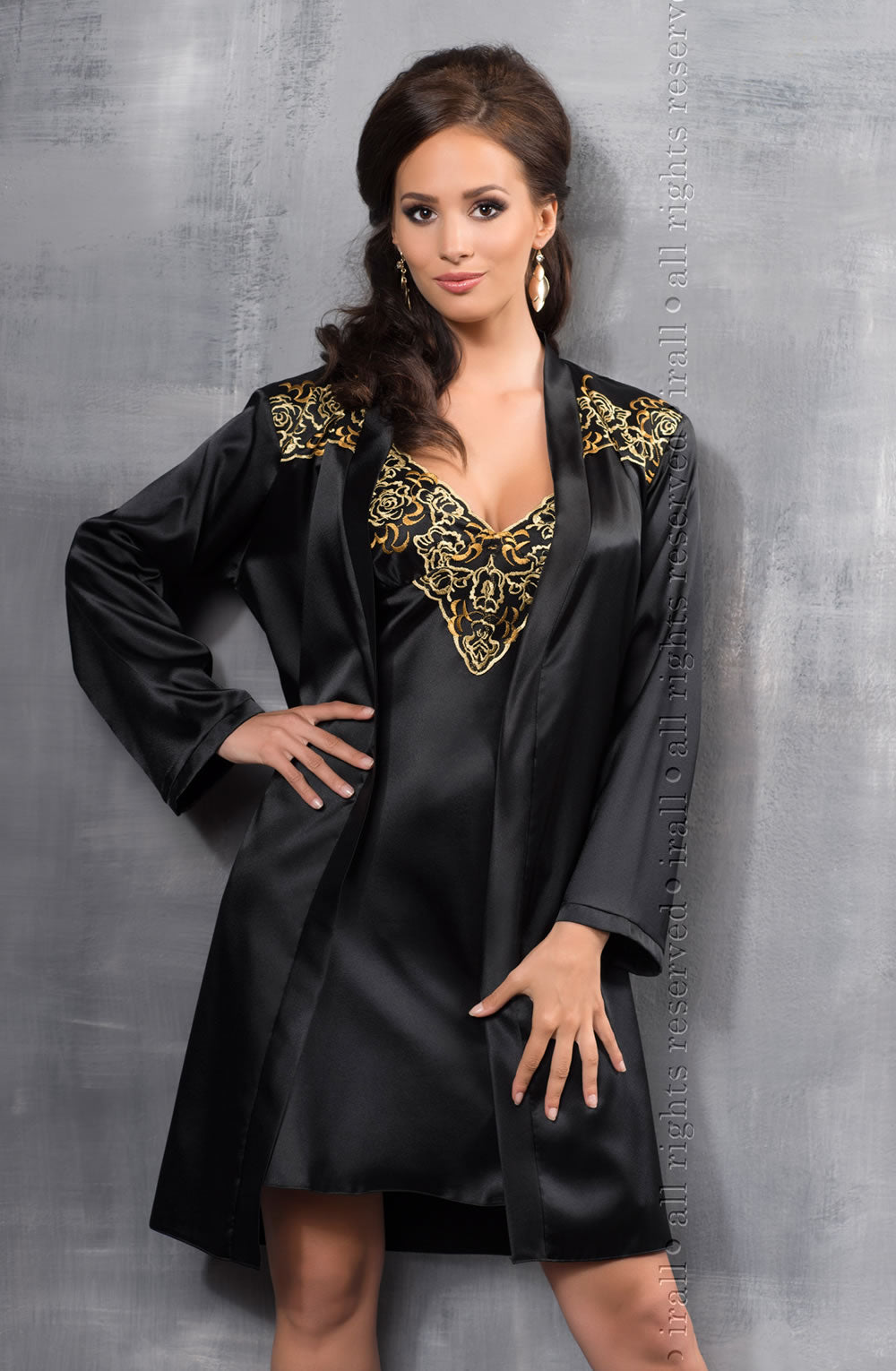 Irall Black Satin Dressing Gown With Gold Embroidery