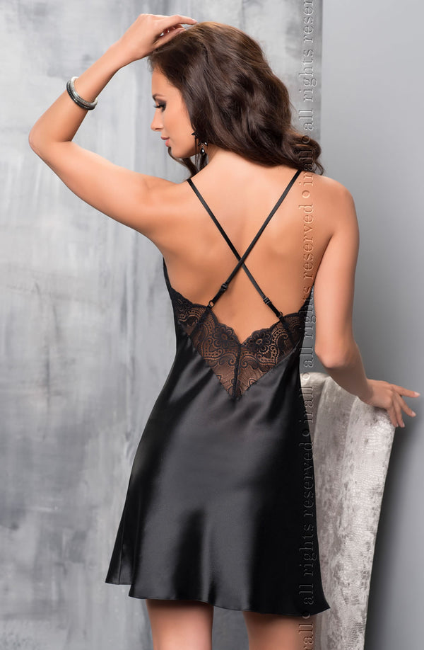 Irall Sharon Black Satin And Lace Nightdress Back