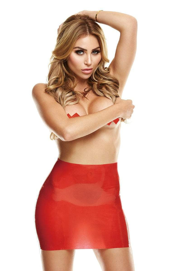 LATEXWEAR Latex Clothing Red Open Back Latex Mini Skirt