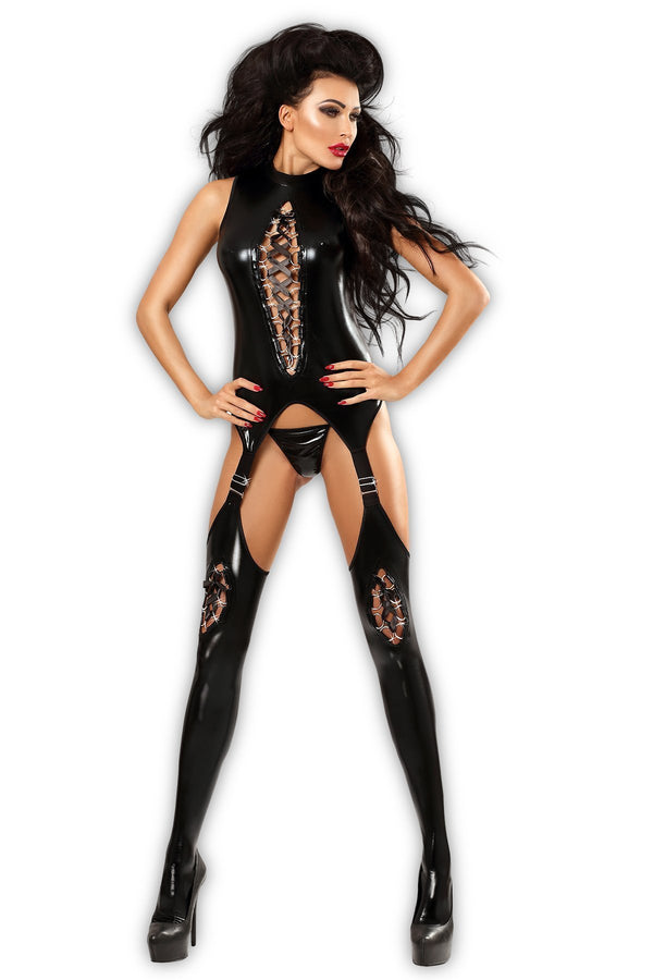 Lolitta Bodystocking UK 8-10 / Black Black Horny Wetlook Bodystocking