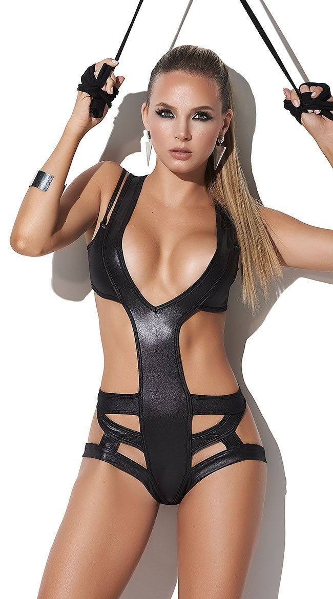 Mapale Body UK 6-8 / Black Wet Look Black Cut Out Bodysuit