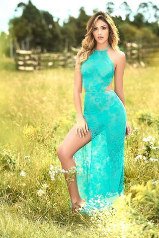 Mapale gown UK 6-8 / Teal Teal Lace Long Night Gown - Special Order