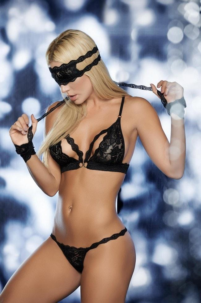 Mapale Lace Bra Set with Wrist Restraints and Eye Mask - Divas Closet