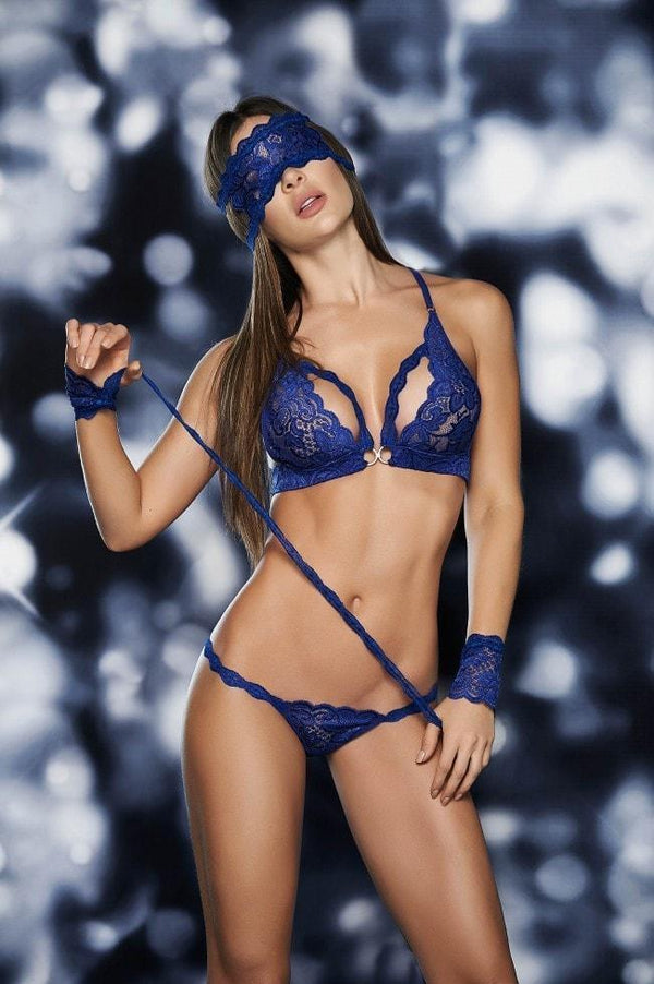 Mapale lingerie set UK 6-10 / Blue Mapale Lace Bra Set with Wrist Restraints and Eye Mask Blue