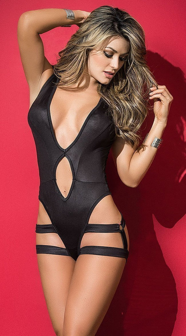Mapale Mapale Bodysuit Black Bodysuit With Removable Harness
