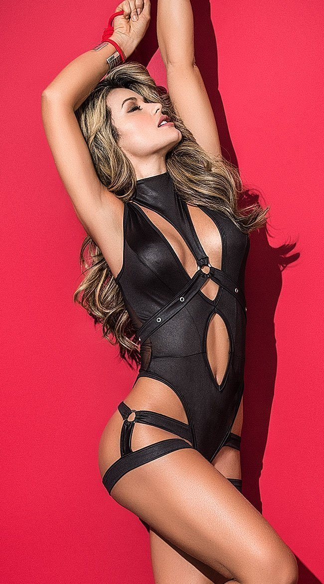 Mapale Mapale Bodysuit UK 6-8 / Black Black Bodysuit With Removable Harness