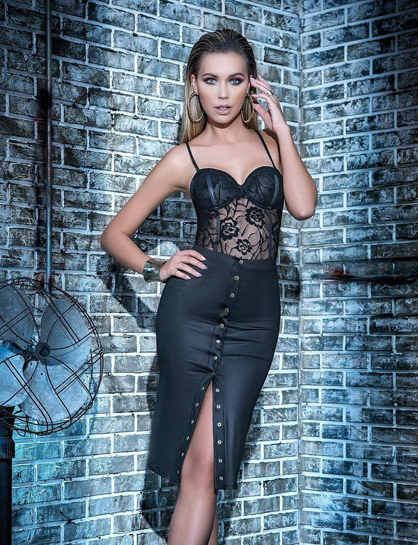 Mapale Mapale Dress Sheer Lace Teddy & Wet Look Skirt Set