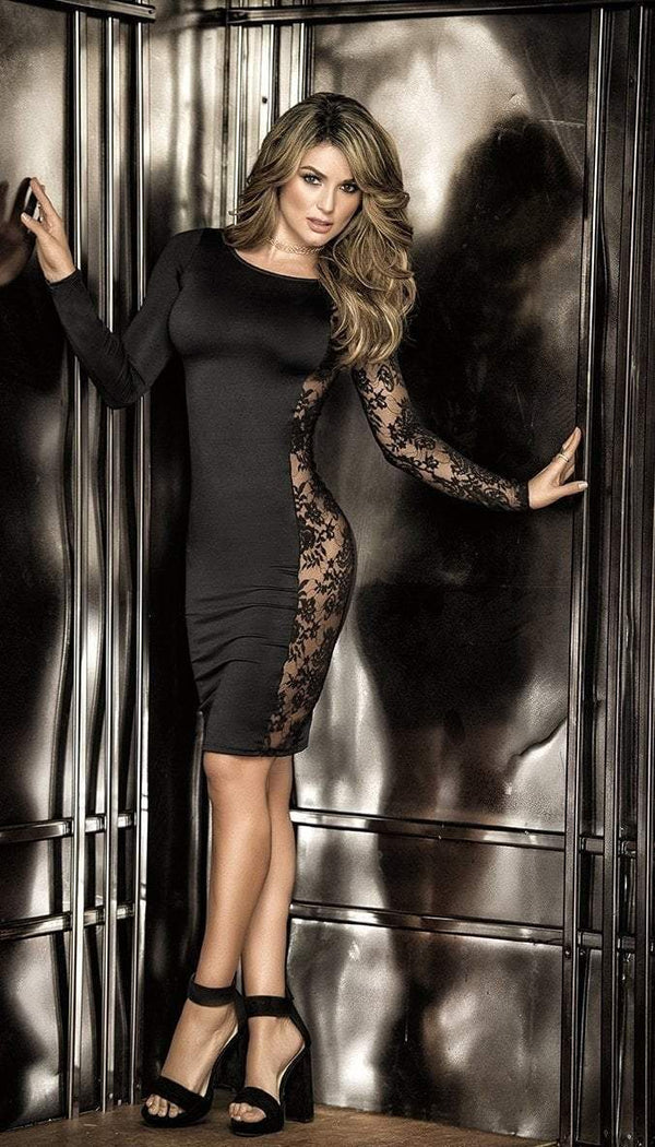 Mapale Mapale Dress UK 6-8 / Black Black Lace Panel Dress