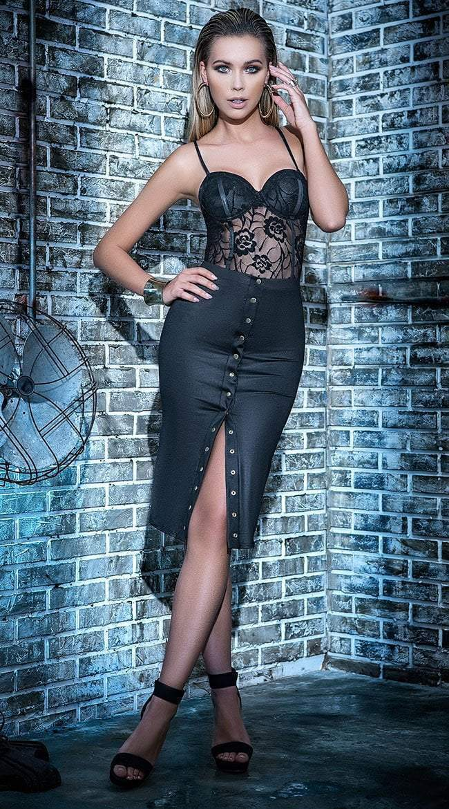 Mapale Mapale Dress UK 6-8 / Black Sheer Lace Teddy & Wet Look Skirt Set