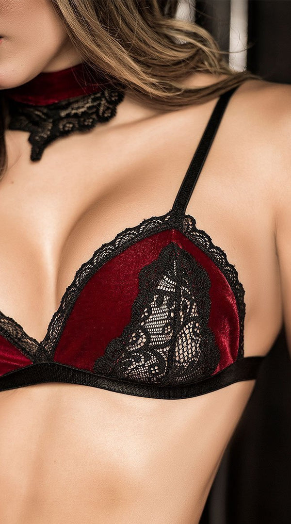 Mapale Mapale Lingerie Set Burgundy Velvet And Lace Three Piece Set