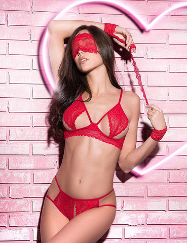 Mapale Mapale Lingerie Set UK 6-10 / Red Four Piece Peek-A-Boo Set Red
