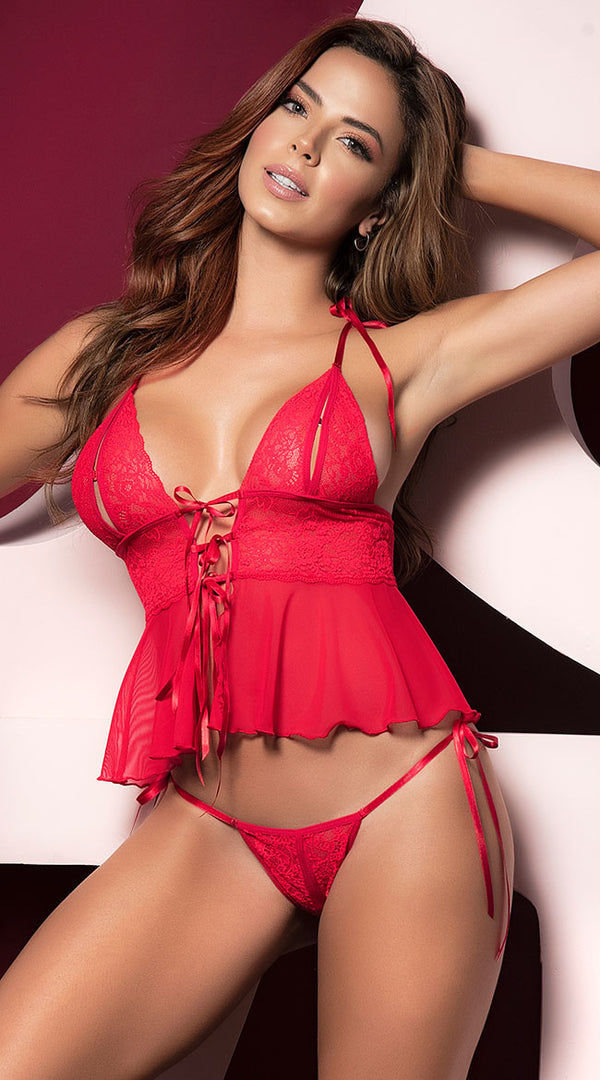 Mapale Red Peek A Boo 2 Piece Lingerie Set