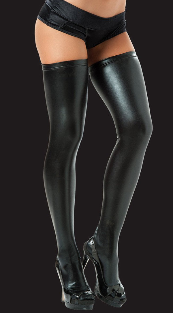 Metallic Black Thigh High Stockings - Divas Closet
