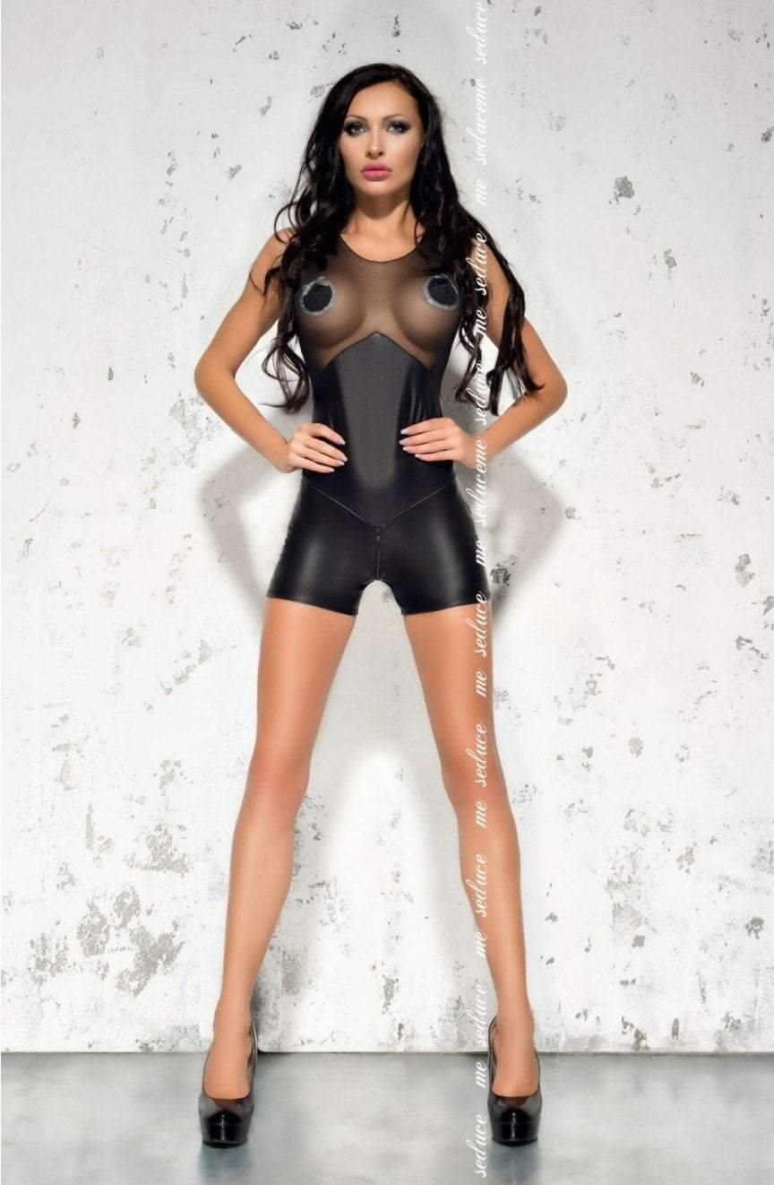 me seduce Me Seduce Catsuit UK 8-12 / Black Demi Eco Leather Short Cat Suit