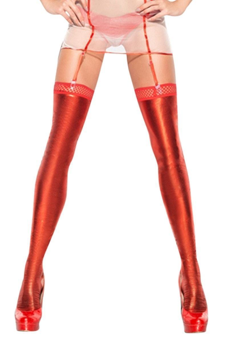 Red Wet Look Stockings - Divas Closet
