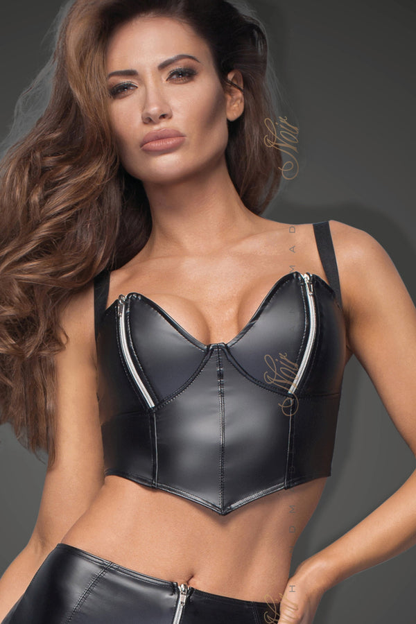 Noir Handmade Bra UK 8 / Black Powerwetlook Top With Silvers Breast Zips F165