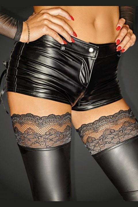 Noir Handmade Brief UK 16 / Black Plus Size Noir Handmade Diva Collection Wet Look Shorts F138