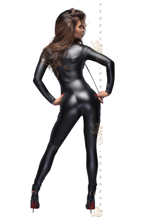 Noir Handmade Catsuit Power Wetlook Catsuit With Leash